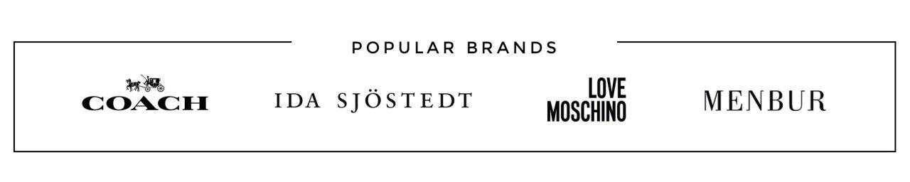 Shop Popular brands like Coach, Ida Sjöstedt, Love Moschino and Menbur