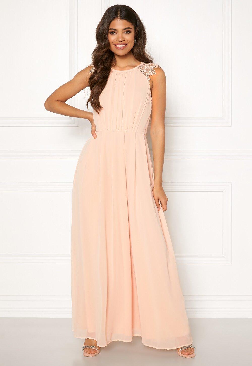 AX Paris Lace Trim Chiffon Maxi Dress Nude - Bubbleroom