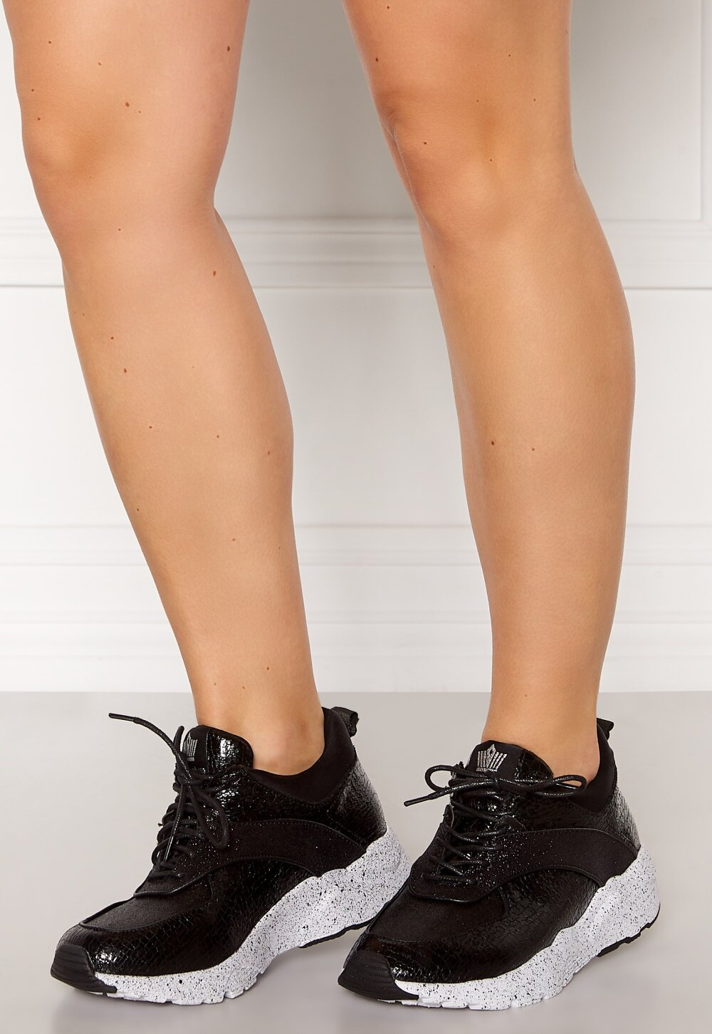 chupar Agnes Gray Es mas que  Francesco Milano Glitter Sneakers Nero - Bubbleroom