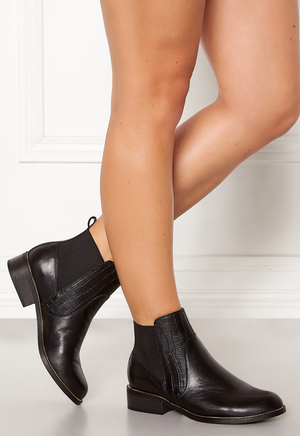 New Look Mixed Mat Leather Shoes Black