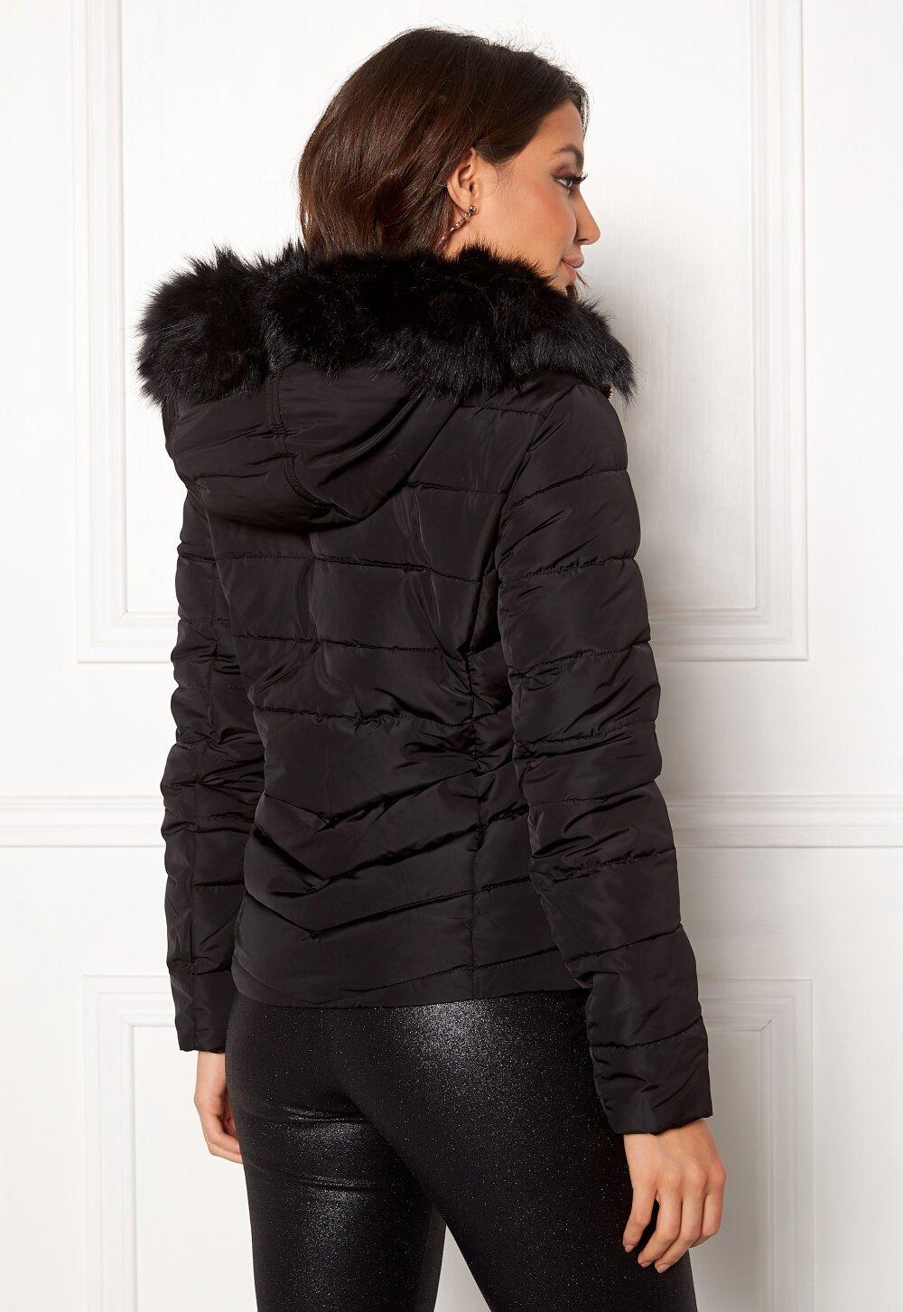 f044303f ONLY New Ellan Quilted Jacket Black/Black Fur - Bubbleroom