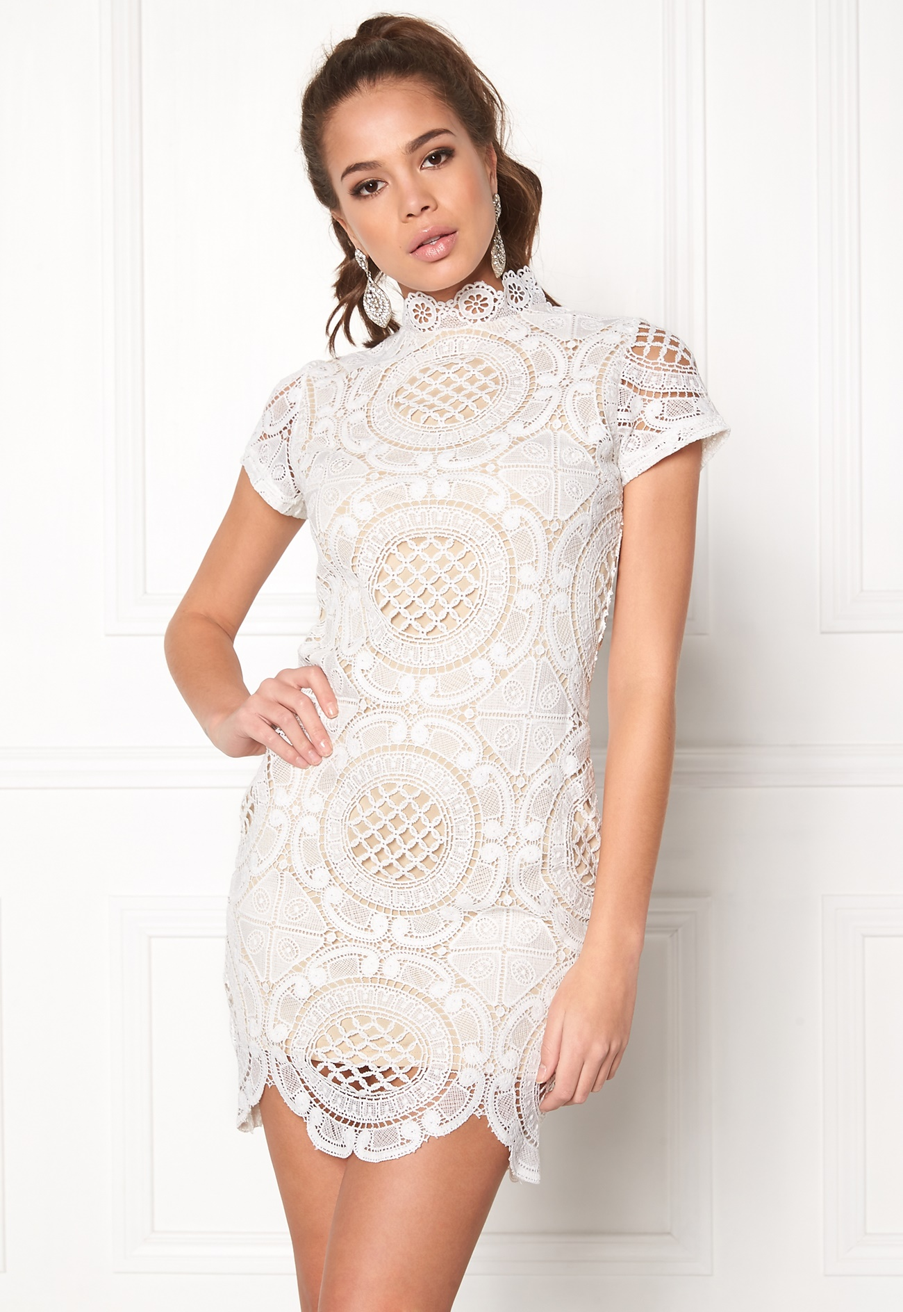 Girl Mind Lace Dress White Bubbleroom