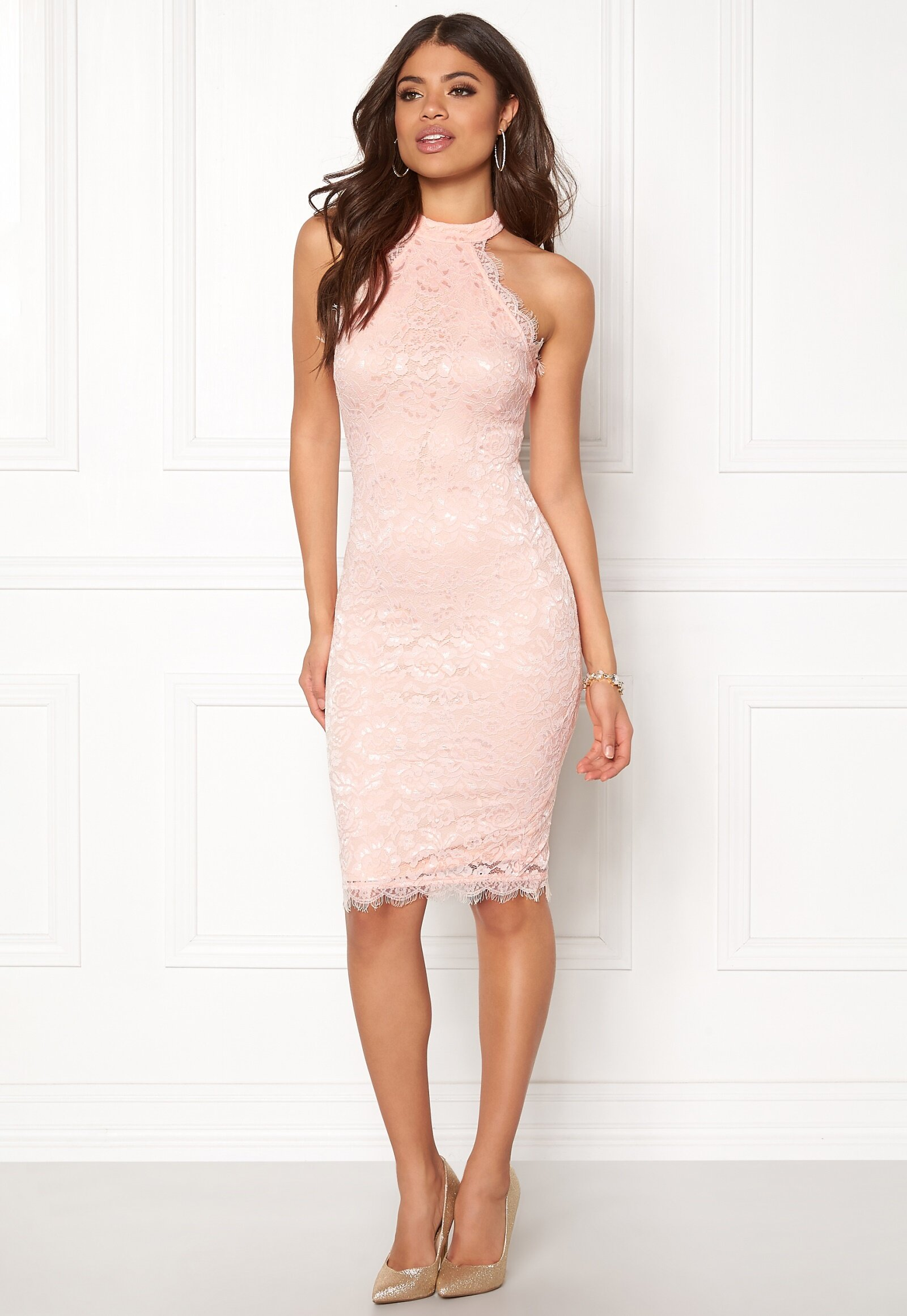 Nude Dress With Black Lace Fitted Ax Paris For Sale in