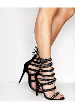 Have2have Chain Heeled Sandals, Krista Black Bubbleroom.eu