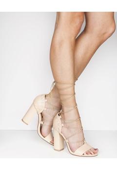 Truffle Lace Up Heeled Sandals, Vela47 Nude Bubbleroom.eu
