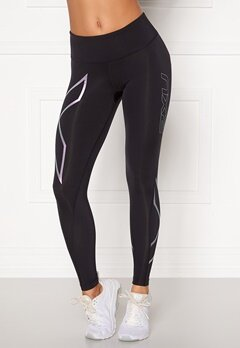 2XU Mid Rise Comp Tights BLK/BDD Black/Blosso Bubbleroom.eu