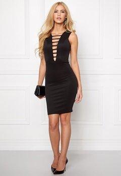 Goddiva Plunge Mini Dress Black Bubbleroom.eu