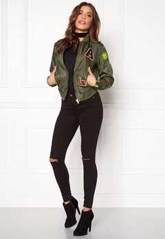 Sisters Point Lusa Patch Bomber Jacket Olive Green Bubbleroom.eu