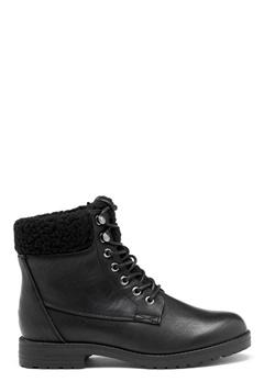 New Look PU Shearling Lace up Boot Black Bubbleroom.eu