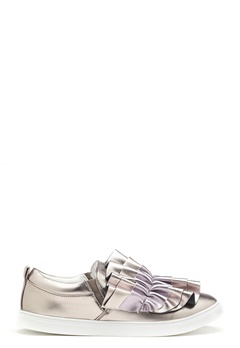 LOST INK Nash Ruffle Slip-On Shoes Pewter Bubbleroom.eu