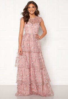 Alexandra Nilsson X Bubbleroom Flounced gown Dark heather pink Bubbleroom.eu