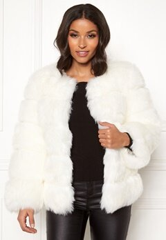 AMO Couture Dusk Faux Fur Coat White Bubbleroom.eu