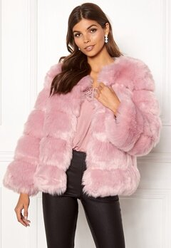 AMO Couture Dusk Faux Fur Short Coat Dusky Pink Bubbleroom.eu