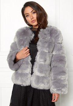 AMO Couture Dusk Faux Fur Short Coat Pewter Bubbleroom.eu