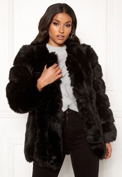 AMO Couture Renaissance Faux Fur Coat Black Bubbleroom.eu