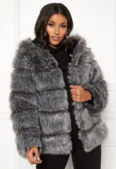 AMO Couture Roma Faux Fur Hood Coat Silver Fox Bubbleroom.eu