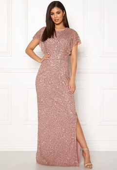AngelEye Allover Sequin Maxi Dress Rose gold Bubbleroom.eu