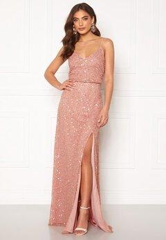 AngelEye Allover Sequin Maxi Dress Rose Gold Bubbleroom.eu