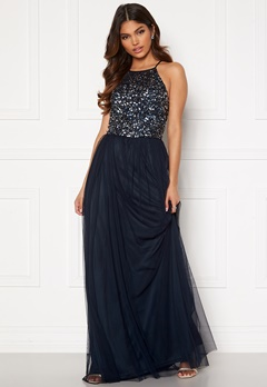 AngelEye High Neck Sequin Maxi Dress Navy Bubbleroom.eu