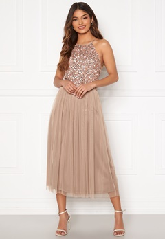 AngelEye High Neck Sequin Midi Dress Taupe Bubbleroom.eu