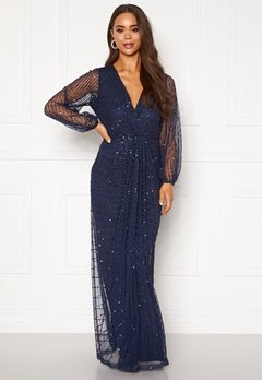 AngelEye Long Sleeve Seqiun Dress Navy Bubbleroom.eu