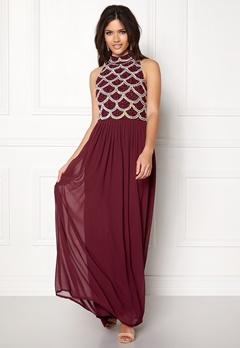 AngelEye Sequin Bodice Maxi Dress Burgundy Bubbleroom.eu