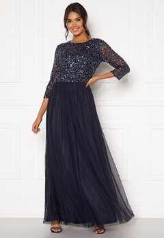 AngelEye Sequin Bodice Maxi Dress Navy Bubbleroom.eu