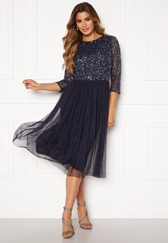 AngelEye Sequin Bodice Mid Dress Navy Bubbleroom.eu