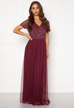AngelEye Short Sleeve Sequin Dress Burgundy Bubbleroom.eu