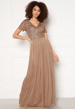 AngelEye Short Sleeve Sequin Dress Taupe Bubbleroom.eu