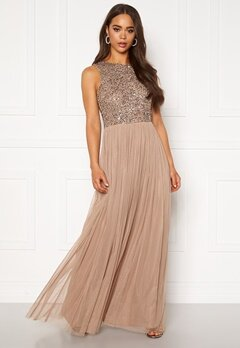 AngelEye Sleeveless Sequin Dress Taupe Bubbleroom.eu