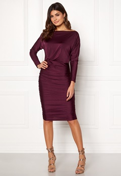 AX Paris Boat Neck Midi Dress Plum Bubbleroom.eu