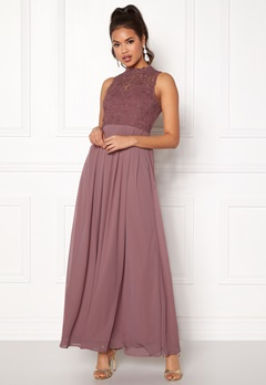 AX Paris Crochet Top Chiffon Maxi Mauve Bubbleroom.eu