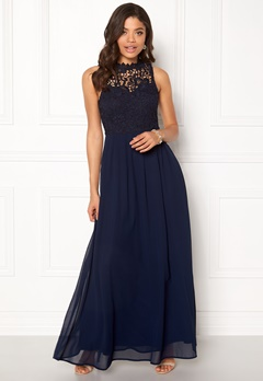 AX Paris Crochet Top Chiffon Maxi Navy Bubbleroom.eu