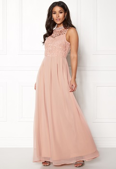 AX Paris Crochet Top Chiffon Maxi Nude Bubbleroom.eu