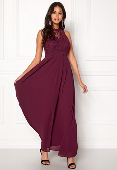 AX Paris Crochet Top Chiffon Maxi Plum Bubbleroom.eu