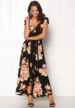 AX Paris Floral Cap Sleeve Maxi Black Bubbleroom.eu