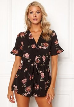 AX Paris Floral Print Playsuit Black Bubbleroom.eu
