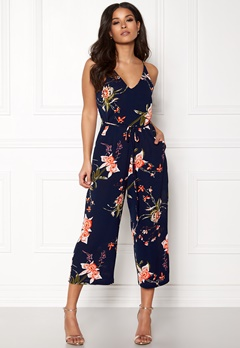 AX Paris Floral Wide Leg Jumpsuit Navy Bubbleroom.eu