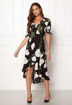 AX Paris Foral Tie Wrap Dress Black Bubbleroom.eu