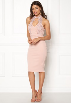 AX Paris Halterneck Choker Dress Pink with Pink Lace Bubbleroom.eu