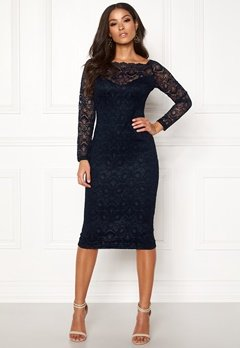 AX Paris Lace Off Shoulder Dress Navy Bubbleroom.eu