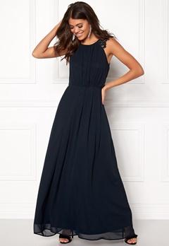 AX Paris Lace Trim Chiffon Dress Navy Bubbleroom.eu