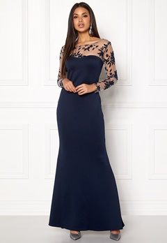 Goddiva Mesh Fishtail Maxi Dress Navy Bubbleroom.eu