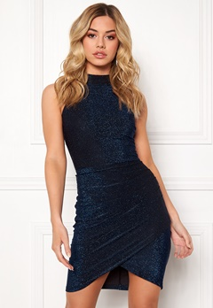 AX Paris Metallic High Neck Dress Blue Bubbleroom.eu