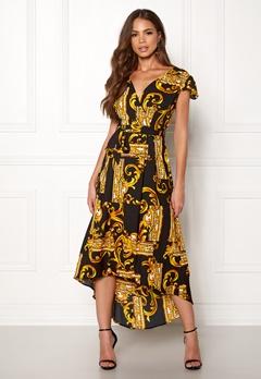 AX Paris Printed Cap Maxi Dress Black/gold Bubbleroom.eu