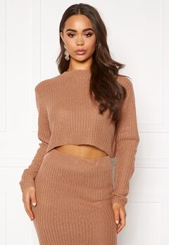 AX Paris Rib Knit Cropped Jumper Camel Bubbleroom.eu