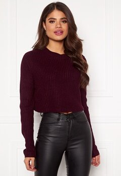 AX Paris Rib Knit Cropped Jumper Wine Bubbleroom.eu