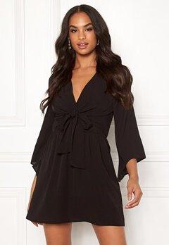 AX Paris Tie Waist Deep V Dress Black Bubbleroom.eu