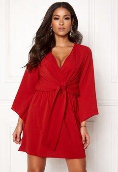 AX Paris Tie Waist Deep V Dress Red Bubbleroom.eu